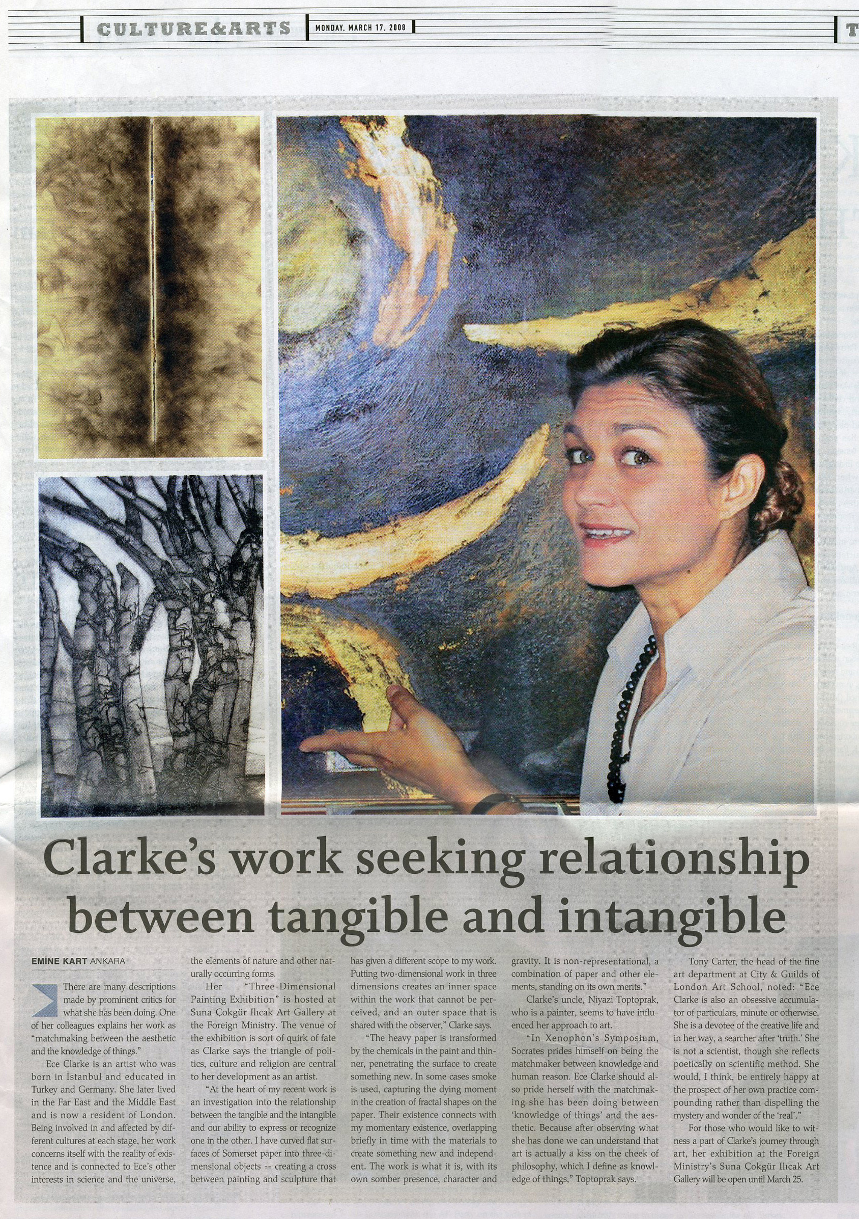 """Clarke's work seeking relationship between tangible and intangible"""